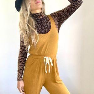 Mustard Yellow Ribbed Knit Sleeveless Jumpsuit M